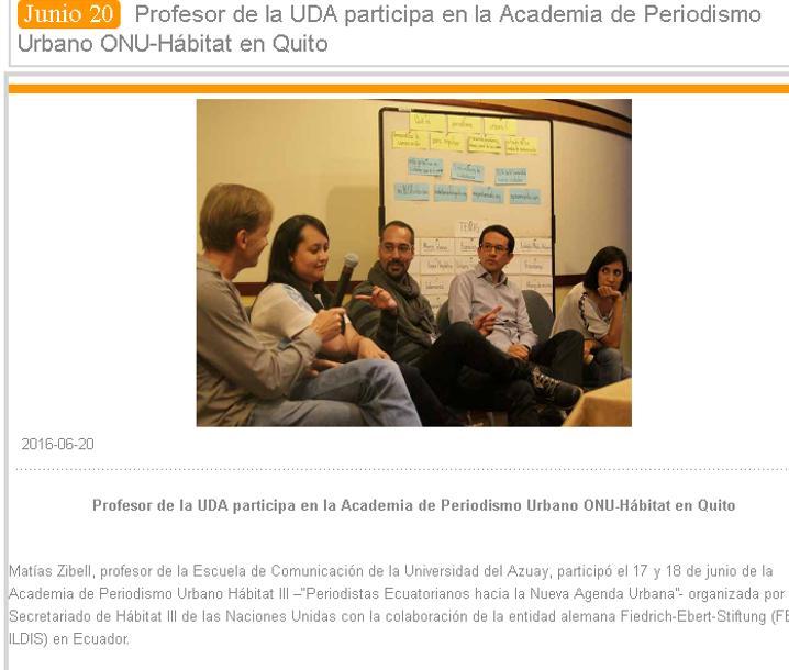 Academia de Periodismo Urbano ONU-Hábitat